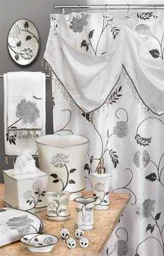 avantie white shower curtain with valance
