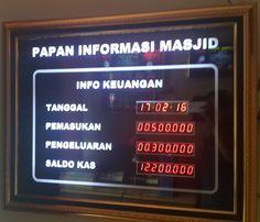 Tipe INFORMASI MASJID DIGITAL (90 x 72 cm) Frame Fiber Informasi Keuangan Masjid Berat Paket 20 Kg Rp.2.490.000,-  http://jamdigitalmasjid.id