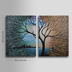 Hand-painted Abstract Oil Painting with Stretched Frame - Set of 2 - USD $ 80.99