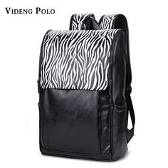 xmas present VIDENG POLO NEW fashion Large Capacity Black soft PU Leather  Personality zebra Texture backpack travel students bag Laptop bags     AliExpress ... 0b3248512f5c8