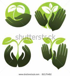 Symbols Of Human'S Hands And Growing Plants Stock Vector 82175482 : Shutterstock