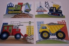 Construction trucks Little builder wall art boy nursery kids art prints set, set A on Etsy, $21.00