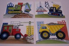 Construction trucks Little builder wall art boy nursery kids art prints set, set A on Etsy, $21.00