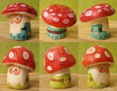 Big NŌM mushroom heads by merwing✿little dear, via Flickr