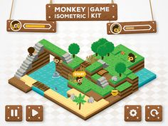 my first game kit with nice map creator, characters sprites and game settings: http://graphicriver.net/item/monkey-isometric-game-kit-map-creator/10916398  I also found 2 game made with this kit:  ...