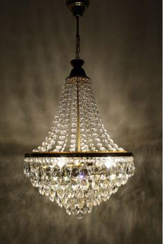 mid century bucket chandelier dripping with crystals