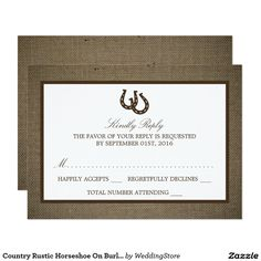 Country Rustic Horseshoe On Burlap Wedding RSVP