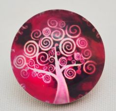 18mm Snap - Abstract Tree, Red, Pink