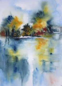 New abstract landscape watercolor acrylic paintings Ideas Watercolor Painting Techniques, Watercolor Landscape Paintings, Abstract Watercolor, Watercolor Illustration, Landscape Art, Watercolor Trees, Acrylic Paintings, House Landscape, Wet On Wet Painting