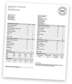 High school transcript example homeschool rocks for Official transcript template