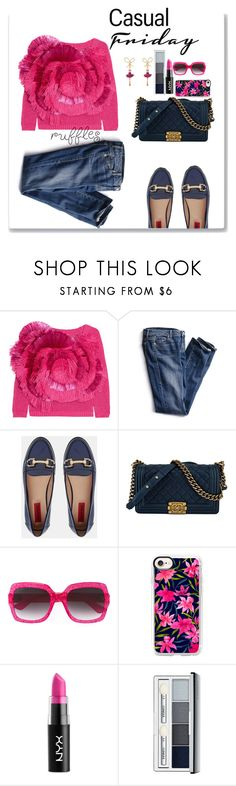 """casual"" by rastaress-motso ❤ liked on Polyvore featuring Delpozo, Victoria's Secret, London Rebel, Chanel, Gucci, Casetify, NYX, Clinique and Les Néréides"