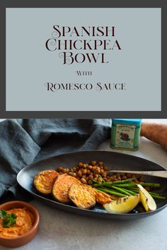 This plant based bowl features some classic Spanish flavours. Crispy roast chickpeas with smoked paprika and romesco sauce is combined sweet potato, asparagus and roast lemon slices. This is one of those dishes where the sum is greater than the parts. Lemon Slice, Real Plants, Smoked Paprika, Plant Based Recipes, Asparagus, Sweet Potato, Spanish, Roast, Potatoes