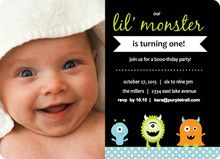 Green Lil Monster Birthday Invitation By Invite Shop Is Your Little Turning One This Halloween Throw Theme A Themed First Party