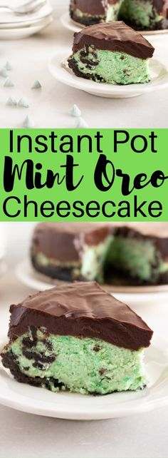 can be time consuming and difficult to create, especially cheesecakes, this Instant Pot Mint Oreo Cheesecake is a dessert game changer, allowing busy parents to create a delicious after dinner dessert in a flash. Mint Cheesecake, Cheesecake Recipes, Instapot Cheesecake, Pumpkin Cheesecake, Köstliche Desserts, Dessert Recipes, Health Desserts, Drink Recipes, Instant Pot Cheesecake Recipe