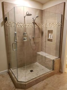Corner Bathtub Shower, Master Bath Shower, Walk In Shower, Master Bathroom, Bathroom Renovations, Bathroom Ideas, Bathrooms, Remodeling Contractors, Home Remodeling