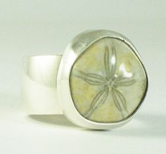 Sterling Silver Fossilized (Sea Biscuit) Dome Ring