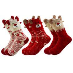 New 2016 Women Sock Winter Warm Christmas Gifts Stereo Socks Soft Cotton Cute Santa Claus Deer Socks Xmas Christmas socks S01