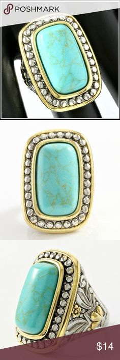 🔥Turquoise Large Statement Ring Two Tone 18k Gold High Polish Layered (White Gold Plated) Turquoise Large Ring. The first three photos are stock photos. The others are of the actual ring. Glamouresq Jewelry Rings
