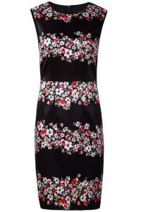 Black Sleeveless Floral Striped Bodycon Dress