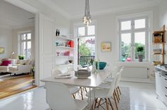 Swedish All White Home + Pop of Colour