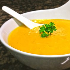 Apple-Pear Butternut Squash Soup - Delicious butternut squash soup that leaves you wanting more after each taste. The addition of carrots, pear and apple add depth to the flavor of the butternut squash. It is the perfect soup for a chilly fall night!