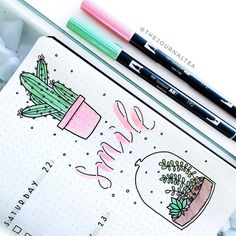 A close up on amazing bullet journal illustrations by insta Check her amazing feed out! These little succulent/cactus doodles in journal are sure to start your day off with a smile! Easy Bullet Journal Ideas To Well Organize & Accelerate Your Ambitious Go Bullet Journal Journaling, Bullet Journal 2019, Journal Layout, My Journal, Bullet Journal Inspiration, Journal Pages, Journal Ideas, Journalling, Bullet Journal School