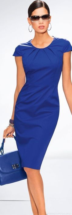 Love this blue dress. It's perfect for a client lunch meeting. Fashion equality in the workplace means clients care about your work, not your wardrobe.