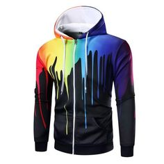Hoodies & Sweatshirts Psychedelic Fireworks Digital Print Tide Men Sweatshirts Harajuku Casual Hoodies Hoody Colorful Lines Gradient Hooded Tops