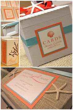 coral wedding box