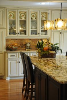 Love the brick backsplash & the lights above island! Buffet with Brick Backsplash