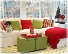 I have pinned this amazing sunroom before but I love it even more decked out for Christmas! (minus the dog)