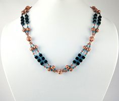 Layered Copper Beaded Necklace, Hand Made Copper Chain, Natural Copper Beads, Blue Seed Beads, Czech Black Glass Cubes, Long Chain Necklace