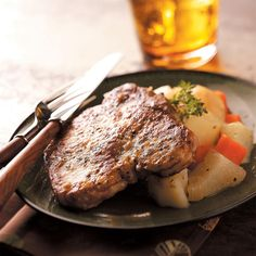 Easy One Pot Meals - Pork Chop Supper Recipe -You can let this Pork Chop Supper simmer while you do other chores Pork Chop Recipes, Meat Recipes, Cooking Recipes, Healthy Recipes, Pasta Recipes, Pan Cooking, Pork Meals, Cooking Pork, Meatloaf Recipes