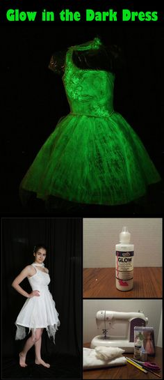 DIY: Glow in the Dark Dress. A perfect hostess dress for our Halloween Glow-In-The-Dark Spooktacular party.