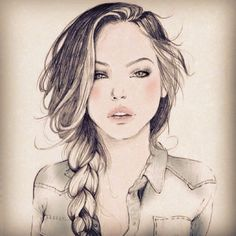 girl with braided hair drawing | Death by Homicide - @deathbyhomicide