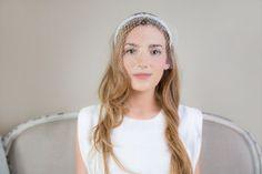 Beaded bridal half birdcage veil headband by TheHatteryByPKM, $115.00
