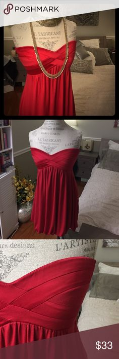 Radiant Red Dress Radiant red dress, perfect for the night out in town! Necklaces not included. This dress is approximately 63cm in length measured from the side. bebe -2b bebe Dresses Mini