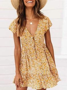 Summer Floral Printed V Collar Button Embellished Valentine Dress - # Casual Outfits going out blouses Dresses Elegant, Casual Dresses For Women, Sexy Dresses, Cute Dresses, Short Sleeve Dresses, Clothes For Women, Formal Dresses, Work Clothes, Chiffon Dresses