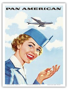 Airline Stewardess Pan Am Vintage Airline Travel Art Poster Print