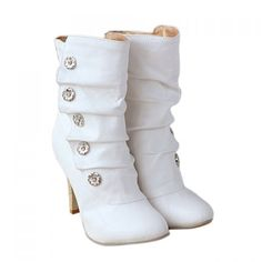 Casual Metal and Pleated Design Women's Short Boots, WHITE, 39 in Boots | DressLily.com