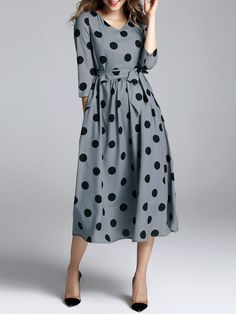 Shop Midi Dresses - Polka Dots A-line Casual 3/4 Sleeve Polyester Midi Dress online. Discover unique designers fashion at StyleWe.com.