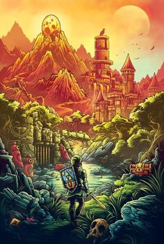 pixalry: Video Game Inspired Posters - Created by Dan Mumford Part of the Polygons and Pixels Art Show limited edition art prints available for sale at Dan Mumford, Dibujos Dark, Legend Of Zelda Breath, Breath Of The Wild, Video Game Art, Cultura Pop, Illustrations, Anime, Pixel Art