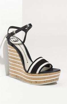 """*drooling* The Gucci """"Vitage"""" Wedge Sandal... $675. AND it comes in a size 12!"""