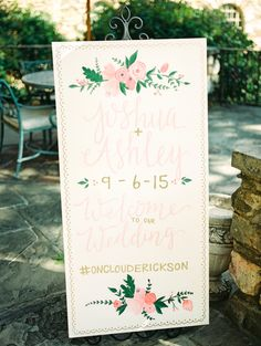 Floral inspired wedding sign: http://www.stylemepretty.com/north-carolina-weddings/winston-salem/2016/01/02/romantic-graylyn-estate-wedding/   Photography: Marcie Meredith - http://marciemeredith.com/