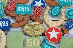 Western-themed birthday cookies     http://www.ccsweets.us
