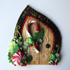 Candy Cane Elf Door, Pixie Portal, Miniature Fairy Door for the Holidays, Polymer Clay Christmas Wall Decor by Claybykim on Etsy