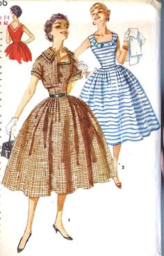 1955 Junior Misses One-Piece Full Skirt Dress with Jacket Vintage Sewing Pattern 1956.
