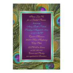 Peacock feathers purple aqua wedding bridal shower personalized invites