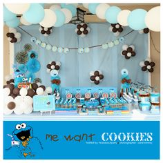 How About Party Cookie Monster Me Love Cookies Baby Showerscookie