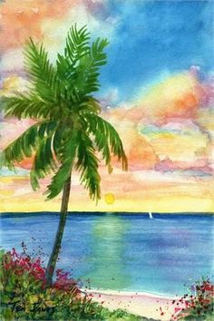 Teri Jones - Sunset Palm ~ Caribbean Art